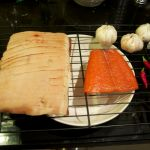 Bacon, salmon, garlic and chillies after smoking