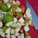 Chopping apples