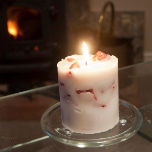 Recycled chunk candle, burning