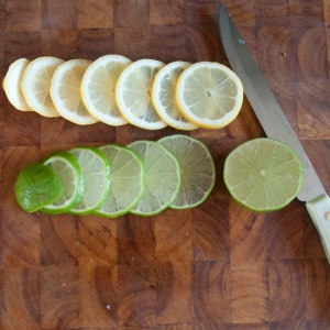 Sliced lemon and lime