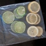 Sliced lemon and lime, bagged for freezing