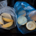 Citrus fruit portions from the freezer