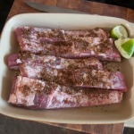 Ribs with seasoning applied