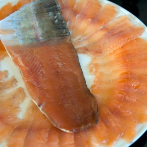 Sliced smoked trout fillet