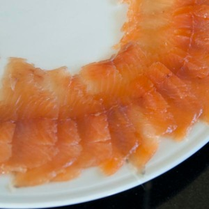Sliced home-smoked trout