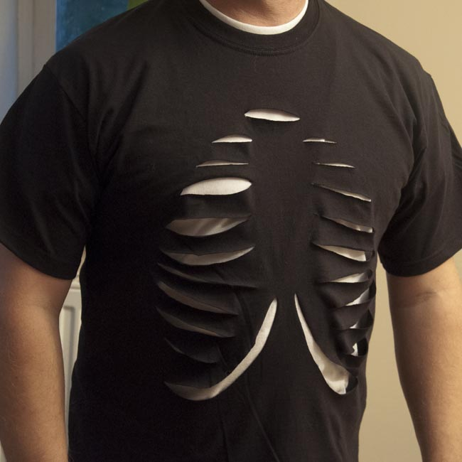 Halloween Rib Cage T Shirt Five Minute Fancy Dress