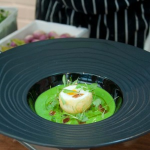 Pea and Watercress Soup, presentation