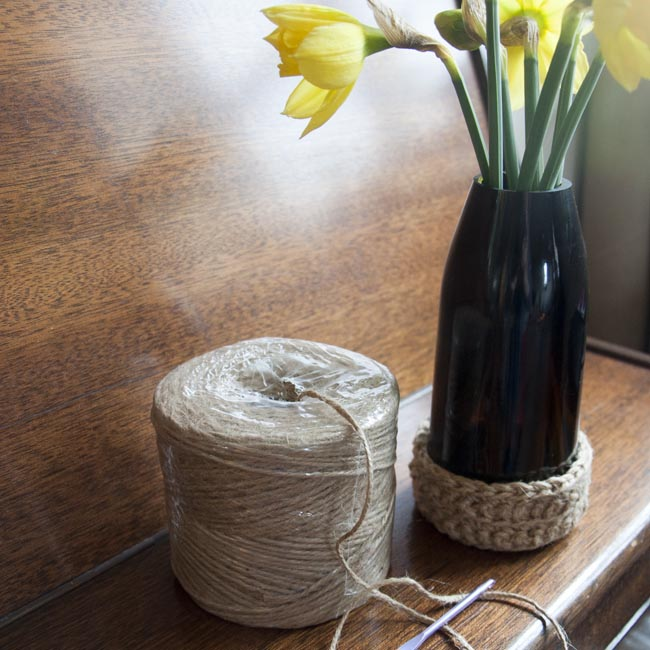 Jute basket with bottle vase