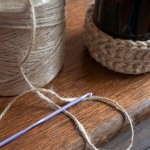 Jute basket detail with twine