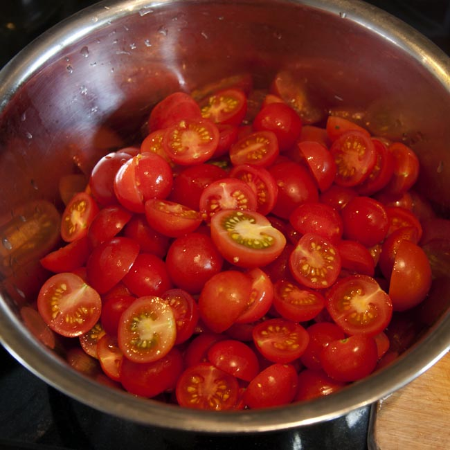 Halved tomatoes