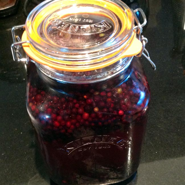 Elderberry vinegar infusing