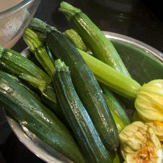 Garden-fresh courgettes
