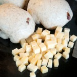 Dough balls and cheese cubes