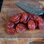 Thinly slice your chorizo