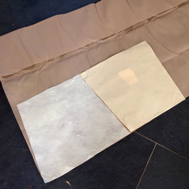 Cut out replacement bottoming cloth using old fabric as template